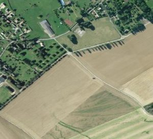 Modern aerial shot of Beaumont-le-Roger.