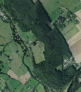 A modern aerial view of the Beaumont-le-Roger area