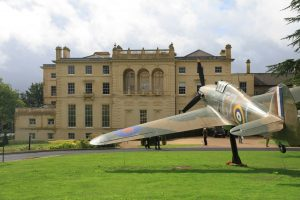 Bentley Priory on the northern edge of London and the Hawker Hurricane on display in front.