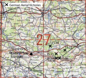 Map of the 19 September 1944 air combat at Ezere